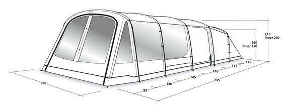 Windwood 8, tunneltelt med fire rum