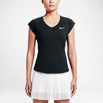 Nike Court Pure SS Tennis Tee Damer Sort