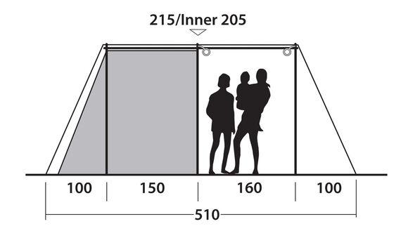 Nevada 5P, tunneltelt med tre rum
