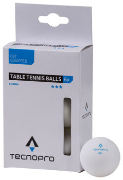 TECNOPRO 3 Star bordtennisbold, 6. styk.