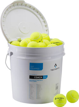 TECNOPRO Coach 50-Ball Bucket Tennisbolde Hvid